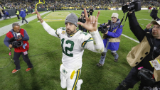 Green Bay Packers quarterback Aaron Rodgers celebrates as he walks off the field following an NFL football game against the Detroit Lions, Monday, Oct. 14, 2019, in Green Bay, Wis. (AP / Mike Roemer)