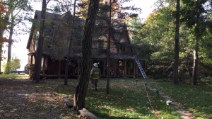 A lakeside property sustains significant smoke and water damage after an upper-level fire on Tues., Oct. 15, 2019 (Steve Mansbridge/CTV News)