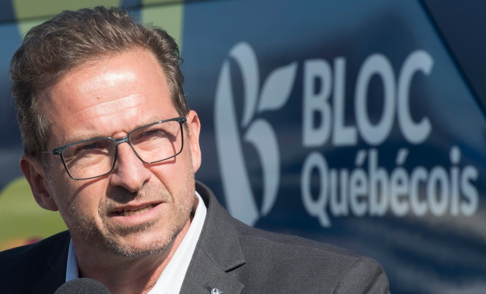 Bloc Quebecois leader Yves-Francois Blanchet speaks to reporters during a federal election campaign stop in Lachute, Que., Friday, October 11, 2019. (THE CANADIAN PRESS IMAGES / Graham Hughes)