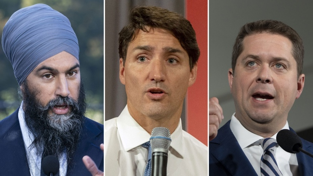NDP Leader Jagmeet Singh, Liberal Leader Justin Trudeau, and Conservative Leader Andrew Scheer are seen in this composite image. (THE CANADIAN PRESS)