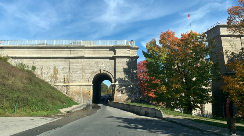 The bridge under the Peterborough Lift Lock, the highest hydraulic lift lock in the world, pictured on Oct. 5, 2019. (CTV News / Rachel Aiello)