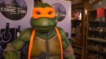 Jazz Campbell was in attendance for the announcement at Cherry Bomb Toys Tuesday morning in his full Teenage Mutant Ninja Turtles costume. (CTV Vancouver Island)