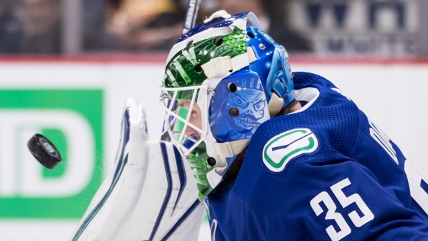 Vancouver Canucks goalie Thatcher Demko makes a blocker save against the Ottawa Senators during the first period of a pre-season NHL hockey game in Vancouver, on Wednesday September 25, 2019. THE CANADIAN PRESS/Darryl Dyck