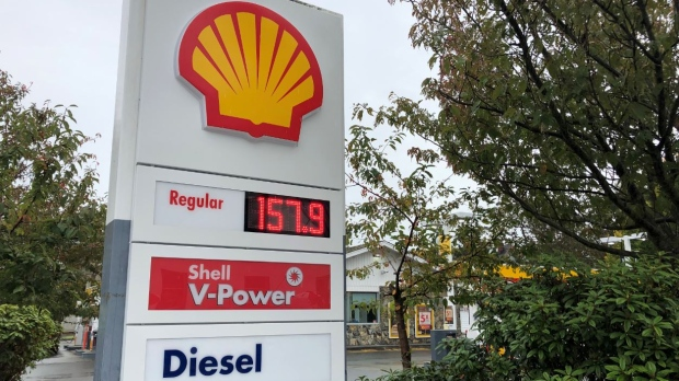 A gas price is displayed at a Shell gas station in Oak Bay: Oct. 15, 2019 (Tyler Fleming)