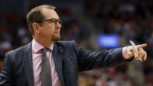 Toronto Raptors head coach Nick Nurse points during the first half of their NBA basketball game against the Chicago Bulls in Toronto, Sunday, Oct. 13, 2019. THE CANADIAN PRESS/ Cole Burston