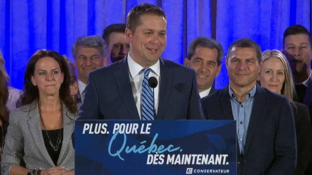 Andrew Scheer holds a rally in La Prairie, Que.