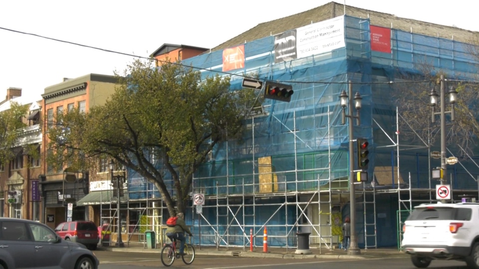 The Strathcona Hotel on Whyte Avenue, under renovation. Tuesday Oct. 15, 2019 (CTV News Edmonton)