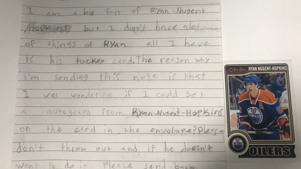 'I signed something for him': Oilers locate young Ryan Nugent-Hopkins fan