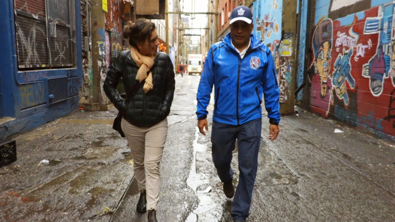 This file photo, taken in October of 2019, shows James Harry, a former drug addict and advocate, speaking with CTV National News Chief Anchor and Senior Editor Lisa LaFlamme from Vancouver's Downtown Eastside about the opioid crisis, which he says should be declared a national emergency. (CTV)