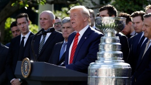 U.S. President Donald Trump speaks during an event to honor the 2019 Stanley Cup Champions, the St. Louis Blues hockey team in the Rose Garden of the White House, Tuesday, Oct. 15, 2019, in Washington. (AP Photo/Evan Vucci)