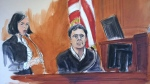 FILE - In this Dec. 15, 2017, file courtroom sketch, Mehmet Hakkan Atilla, right, testifies in his trial in New York. Atilla, a Halkbank official, was convicted in 2018 of conspiracies to violate U.S. sanctions law, defraud the U.S. and commit money laundering and bank fraud. Halkbank, a major Turkish bank, was criminally charged in an indictment Tuesday, Oct. 15, 2019. (Elizabeth Williams via AP, File )