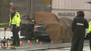 Two people are dead after a crash involving a transport truck and another vehicle in Mississauga. (Corey Baird / CTV News Toronto)