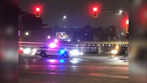 Northbound Main Street is closed at Higgins for a police traffic  investigation, October 16, 2019 (Photo: Alex Brown, CTV News Winnipeg)