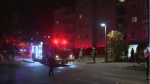 Fire crews on scene of an apartment building fire in Waterloo. One person has been arrested for arson in relation to the incident. (Oct. 15, 2019)
