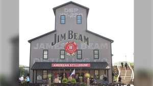 This Oct. 3, 2012 file photo shows the Jim Beam visitors center at its central distillery in Clermont, Ky. (AP Photo/Bruce Schreiner)