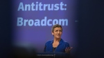 European Commissioner for Competition Margrethe Vestager speaks during a media conference regarding an anti-trust decision at EU headquarters in Brussels, on Oct. 16, 2019. (Virginia Mayo / AP)