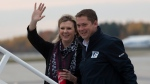 Conservative leader Andrew Scheer and Jill Scheer board the campaign plane in Mirabel, Que. Wednesday October 16, 2019. THE CANADIAN PRESS/Adrian Wyld