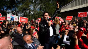 Liberal leader Justin Trudeau makes a campaign stop in London, Ont., on Monday Oct. 14, 2019. THE CANADIAN PRESS/Sean Kilpatrick