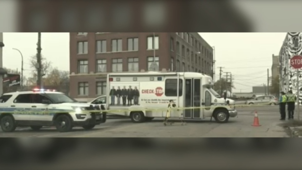 The Winnipeg police homicide unit is now investigating the death of a man who was found lying in the road on Main Street early Wednesday.(Photo: Alex Brown, CTV News Winnipeg)