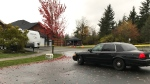 The area remains behind police tape late Wednesday morning and the Campbell River RCMP are asking the public to avoid the scene. (CTV Vancouver Island)
