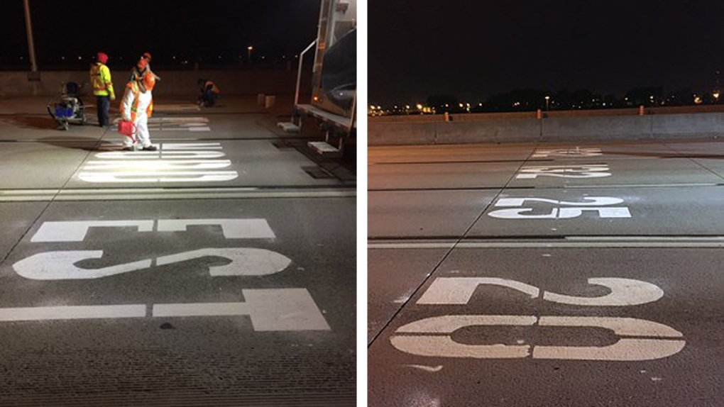Clearer directions painted on Highway 20 to help avoid last moment lane changes