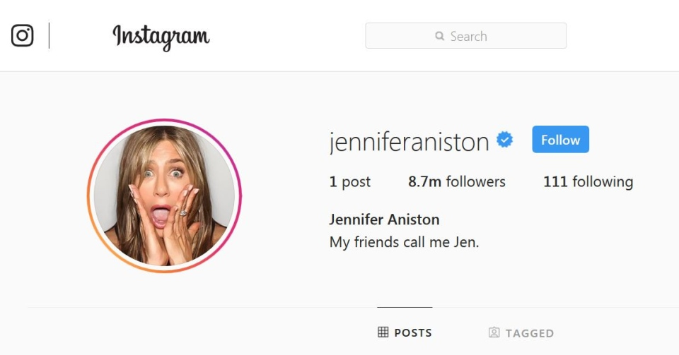 Jennifer Aniston had more than 8.7 million Instagram followers and climbing at time of writing. (Instagram jenniferaniston)