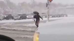 Slush blader braves the Winnipeg streets