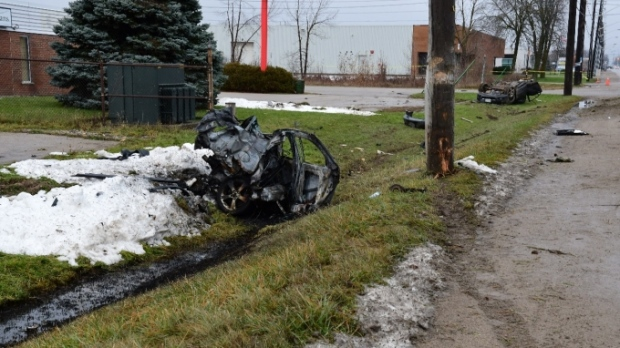 A vehicle destroyed in a crash