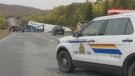 Police respond to a fatal collision on Highway 104 in Barneys River Station, N.S., on Oct. 12, 2019.