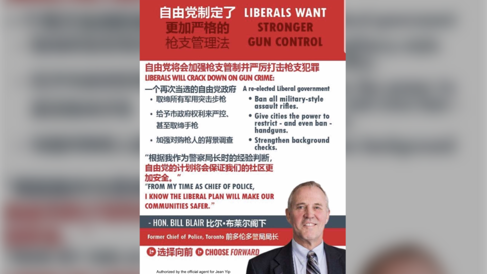 CTV News obtained screenshots of two political ads pushed to users on the social media app, both discussing the Liberal gun reform platform. One of the ads, detailing the Liberals' promise to ban all military-style assault rifles, clearly notes that the ad is authorized by the official agent for Jean Yip, a Liberal candidate in Toronto's Scarborough Agincourt riding. (Screenshot/CTV News)