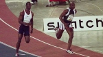 The Canadian men's soccer team's first win over the United States in 34 years on Tuesday night brought back memories of some other famous Canada-U.S. clashes. Canada's Donovan Bailey, right, and Michael Johnson of the U.S. sprint through the turn in their 150-meter race in Toronto Sunday, June 1, 1997. THE CANADIAN PRESS/AP-Bill Sikes