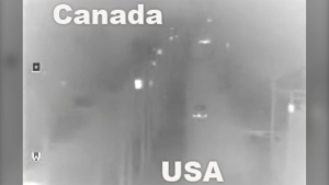 A still image from surveillance video obtained by CTV News through the U.S. Customs and Border Protection Office of Public Affairs - Visual Communications Division shows an illegal border crossing from B.C. into Washington state.
