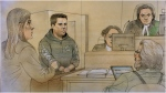 Vince Quaranto,accused of two counts of dangerous driving causing death in connection with a collision that left two people dead on Sunday, is seen here in this court sketch. (CTV News Toronto/John Mantha)