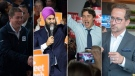 A composite image of Andrew Scheer, Justin Trudeau, Jagmeet Singh, Yves-Francois Blanchet. (CP)