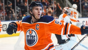 Edmonton Oilers' Connor McDavid (97) celebrates a goal against the Philadelphia Flyers during second period NHL action in Edmonton, Alta., on Wednesday October 16, 2019. THE CANADIAN PRESS/Jason Franson