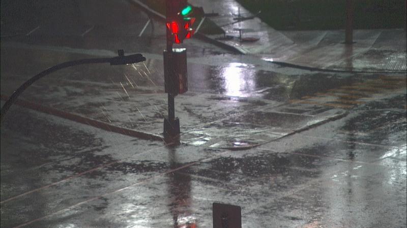 Heavy rain falling in Montreal.