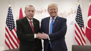 Turkey's President Recep Tayyip Erdogan, left, and U.S. President Donald Trump, right, during a meeting on the sidelines of the G20 summit in Osaka, Japan, on June 29, 2019. (Presidential Press Service / Pool Photo via AP)
