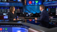 Lisa LaFlamme talking with Andrew Scheer