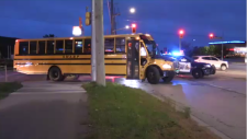 Regional Police are investigating a collision involving a school bus and a pedestrian. (Oct. 17, 2019)