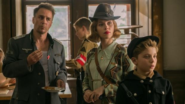 Sam Rockwell, Scarlett Johansson and Roman Griffin Davis in 'Jojo Rabbit.' (Larry Horricks / Fox Searchlight Pictures via AP)