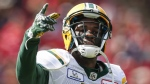 File photo: Edmonton Eskimos' D'haquille Williams celebrates his touchdown during first half CFL football action against the Calgary Stampeders in Calgary, Monday, Sept. 3, 2018. The six-foot-three, 225-pound receiver will make his second NFL start Sunday when Buffalo (4-1) hosts the Miami Dolphins (0-5). THE CANADIAN PRESS/Jeff McIntosh