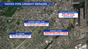 These are the areas that will be affected by urgent construction to repair a massive water main.