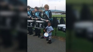 4-year-old joins drum line