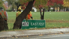 Highway 417 Lees on ramp re-opening is delayed until Tuesday because of heavy rain.