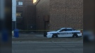 Police cruisers and police tape could be seen at Ellice Avenue and Vaughn Street Thursday morning, following a call.(Jamie Dowsett/CTV News Winnipeg)