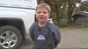 A 6-year-old boy is safe Wednesday morning thanks to a massive search effort overnight that ended after a drone with a thermal camera spotted the child his dog in a cornfield north of the Twin Cities. (Facebook GordonSeversonKARE)