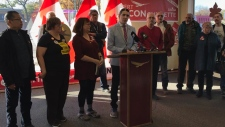 Robert-Falcon Ouellette held a press conference Thursday at his campaign office where he said accusing every practising member of a religion of being complicit in a crime is not acceptable. (Josh Crabb/CTV News)