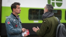 Federal Liberal party candidate Adam van Koeverden campaigns at the Milton GO Transit station in Milton, Ont., on Thursday, October 17, 2019. THE CANADIAN PRESS/Tijana Martin
