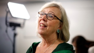 Green Party Leader Elizabeth May announces the Green government will expand the single-payer medicare model to include pharmacare for everyone during a press conference at the campaign office of candidate Racelle Kooy while in Victoria, Wednesday, Oct. 16, 2019. (THE CANADIAN PRESS / Chad Hipolito)