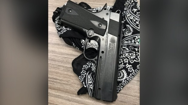 This replica handgun prompted a high school in Stratford to go into lockdown and resulted in two arrests. (Courtesy: Stratford Police)